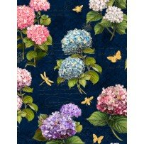 Hydrangea Dreams Large All Over Navy