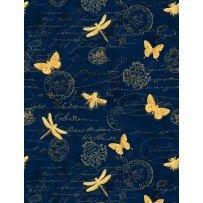 Hydrangea Dreams Butterflies Navy