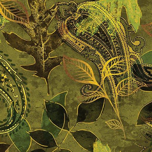 Harvest Gold Paisley Leaf Green