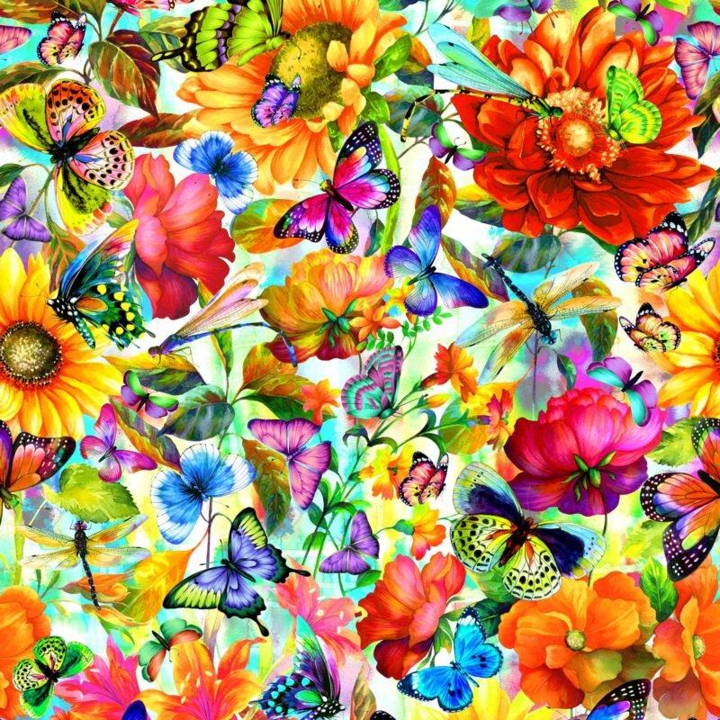 Fantasy  Butterlfy Floral Multi