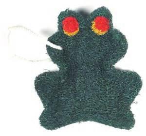 Loofah Art kitchen scrubber frog