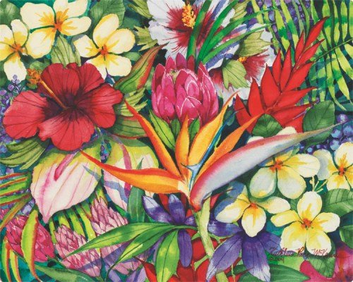 Magic Slice flexible cutting board tropical floral