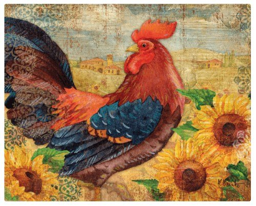 Magic Slice flexible cutting board rooster with sunflowers