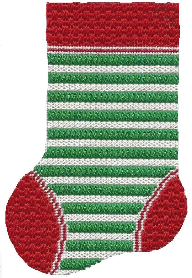 ASIT094 Mini Sock grn/wht stripe  SG