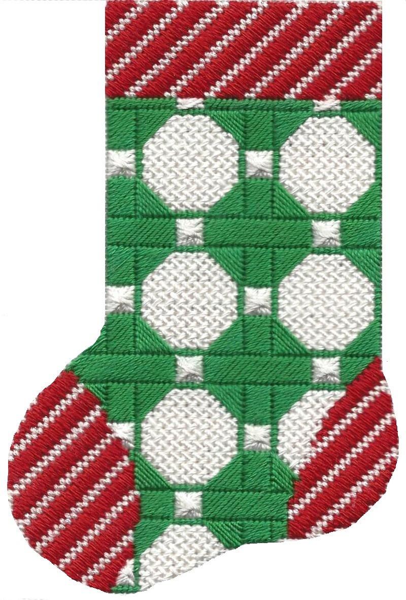 ASIT096 Mini Sock grn/wht octogon SG