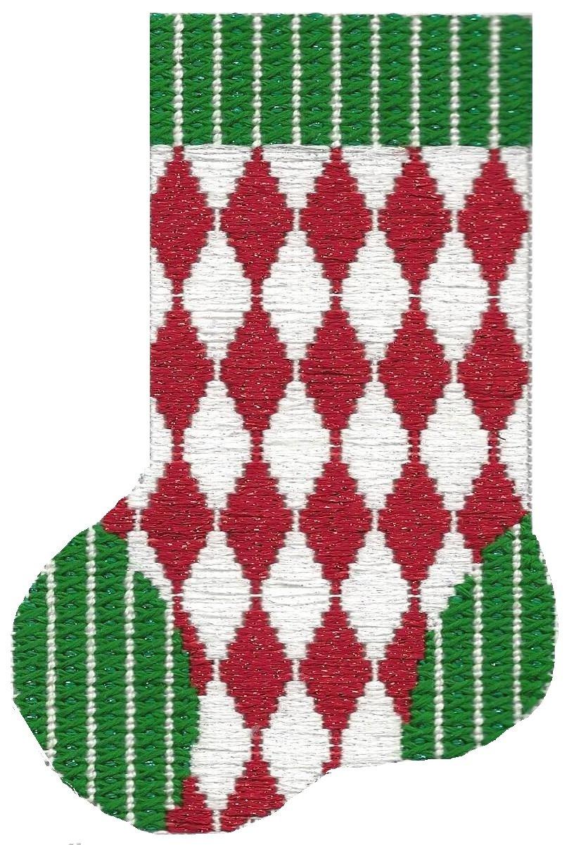 ASIT099 Mini Sock red/wht diamond SG
