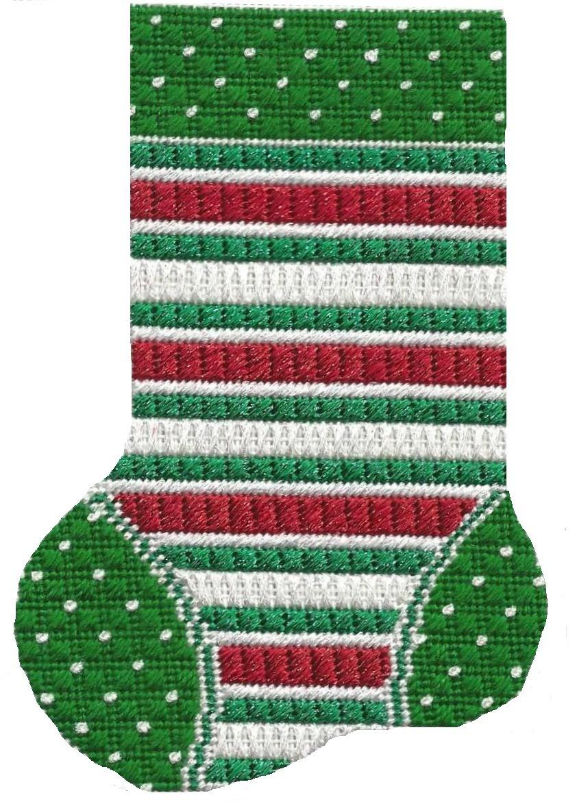 ASIT101 Mini Sock red/wht/grn stripe SG