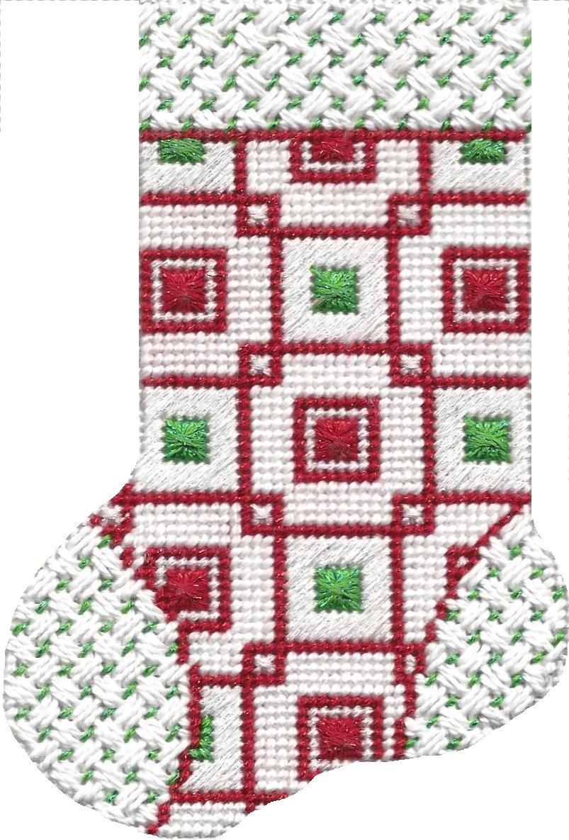 ASIT104 Mini Sock red/grn squares SG