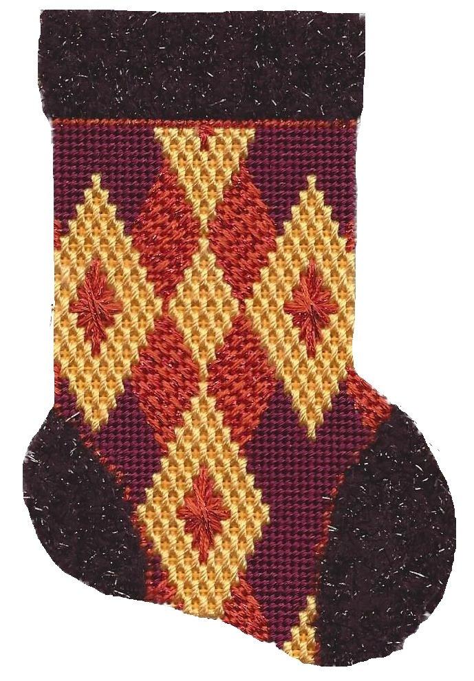 ASIT193 Mini Sock rust/gold/burg SG