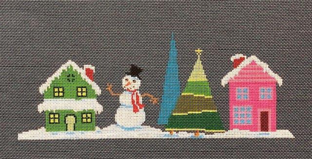 ASIT202d Pink House Snowman