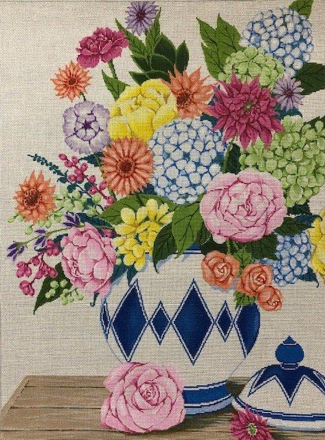 ASIT391 Floral in Blue & White Vase