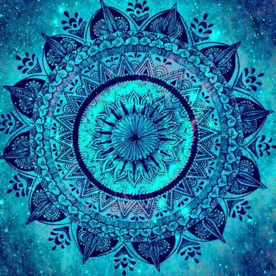 5D Blue Mandala 12x12