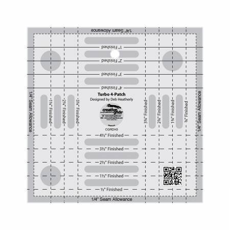Creative Grids Turbo 4-Patch Template Quilt Ruler CGRDH3