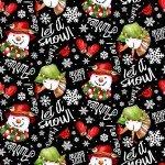 SALE Snow Bird Black Words & Snowman Tossed 2-ply Flannel F9123-99