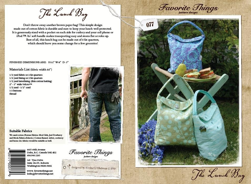 Favorite Things Pattern Designs The Lunch Bag #077