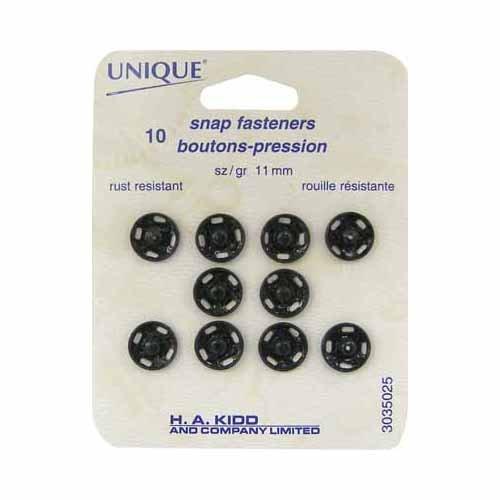 Unique snap fasteners 11 mm 10/pk
