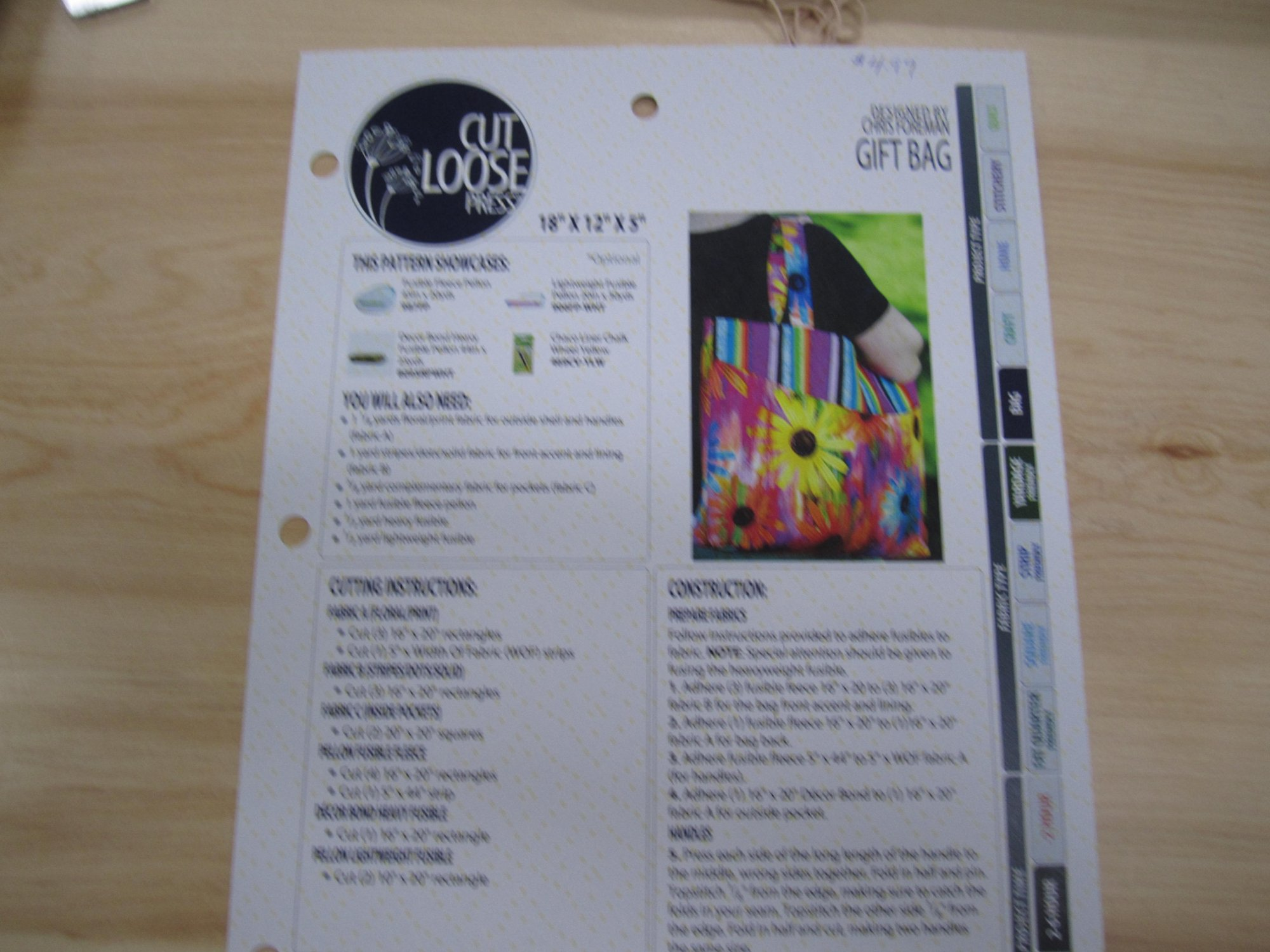 Cut Loose Press Gift Bag  Pattern CLPCFR001