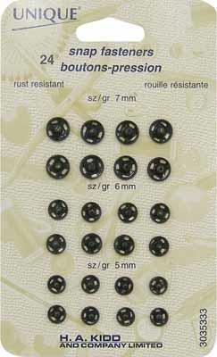 Unique snap fasteners 7,6&5 mm sizes 24/pk