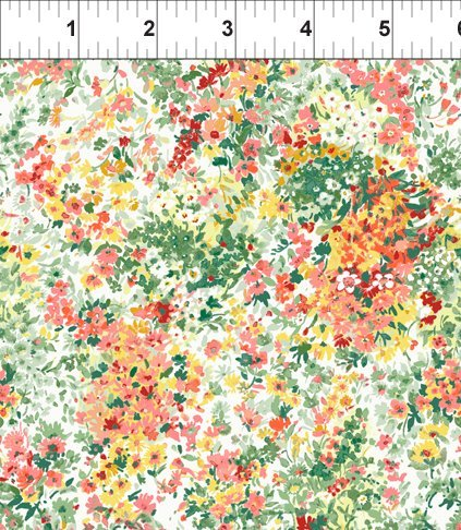ITB Fabrics - Garden Delights - Gray Sky Studio 3GSE 1 - Small multi orange floral
