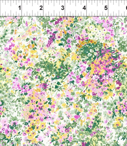 ITB Fabrics - Garden Delights - Gray Sky Studio 3GSE 4 - Purple and green floral