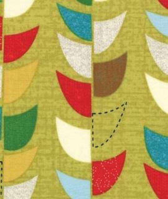 mod century  jenn ski  green blue yellow white modern print  fabric  cotton  moda sku  30515 14