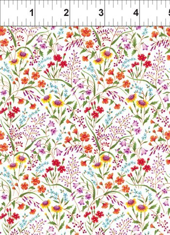 ITB Fabrics - Garden Delights Gray Sky Studio 8GSE 1 - Small multi colored floral
