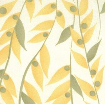 Happy Daisy, Chloe's Closet, Moda, Modern, White with Yellow and Green Leaves