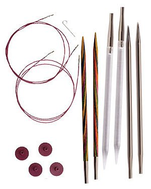 Knit Picks sample pack of Interchangable Knitting Needles, Circular 24 inch Size 7 steel, Size 8 wooden and acrylic