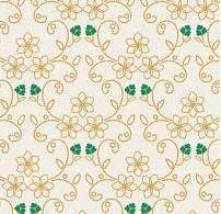 Rhapsodia, Art Gallery, White with gold and green three leaf clovers