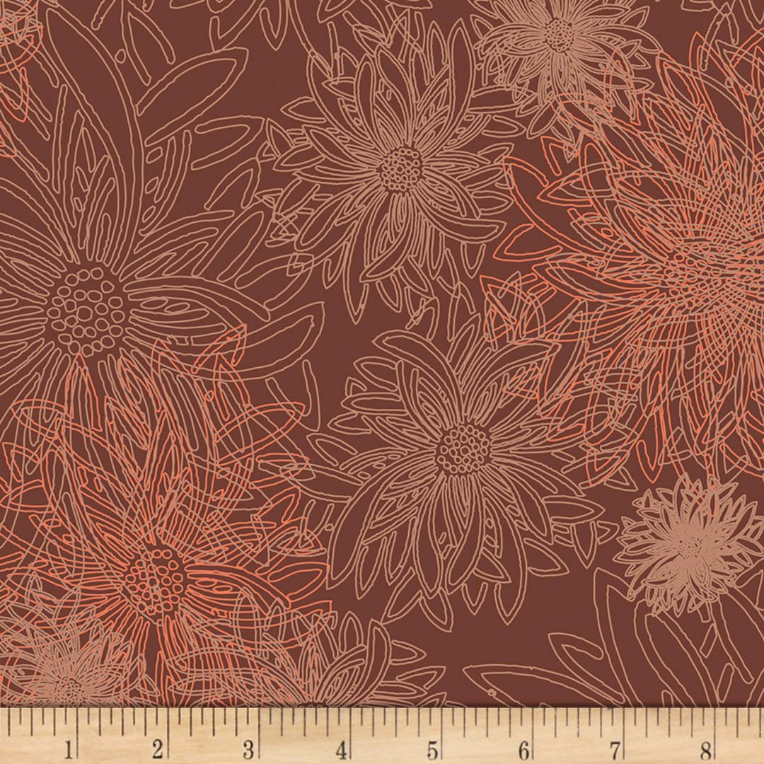 Floral Elements Spicy Brown Art Gallery Fabrics FE-501