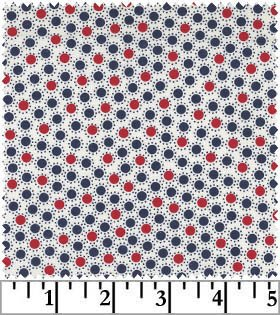 Red, White and Blue Polka Dot, #6918 Sweet Liberty, White, Blank Quilting