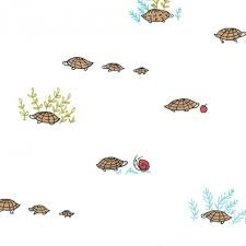 Little Apples, Moda, White with small turtles and snails