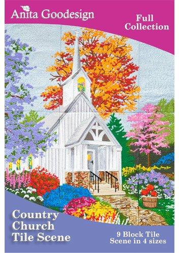 COUNTRY CHURCH TILE SCENE