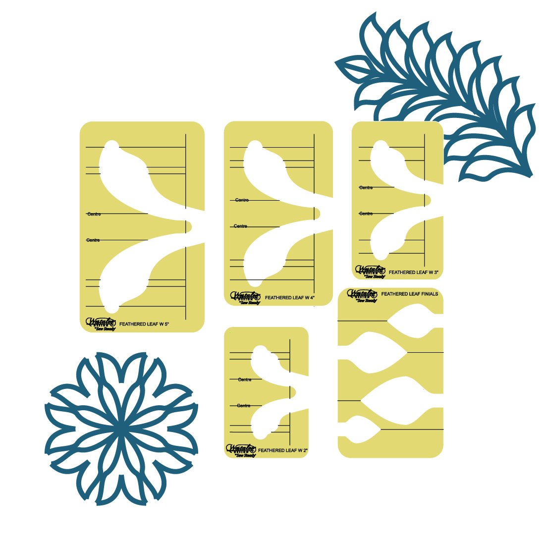 5PC FEATHERED LEAF TEMPLATE SET