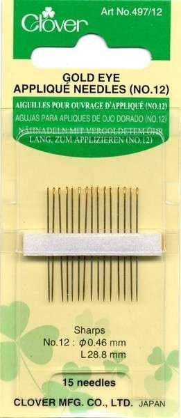*Clover Applique Needles (Size 12) - 497CV-12