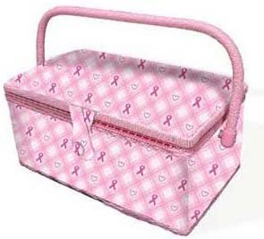 Breast Cancer Awareness Fabric Sewing Basket (Pink) - BCA07288