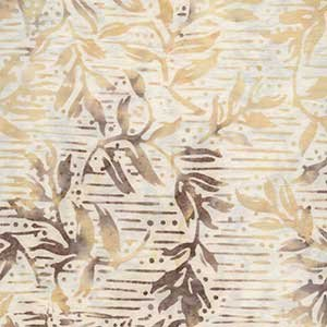 *Cream Lines and Leaves Batik - 9084