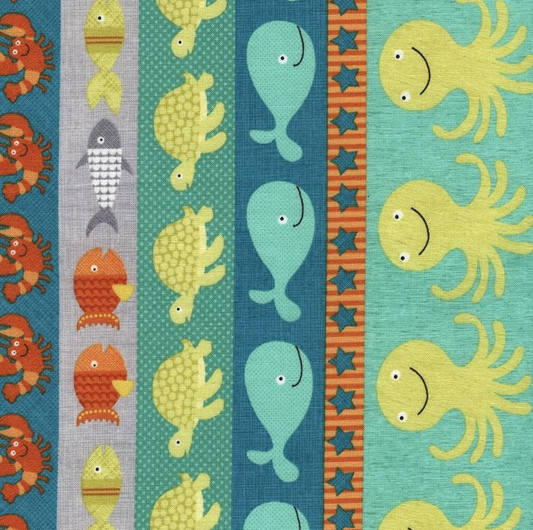 *Multi Sea Creatures Stripe - C4761