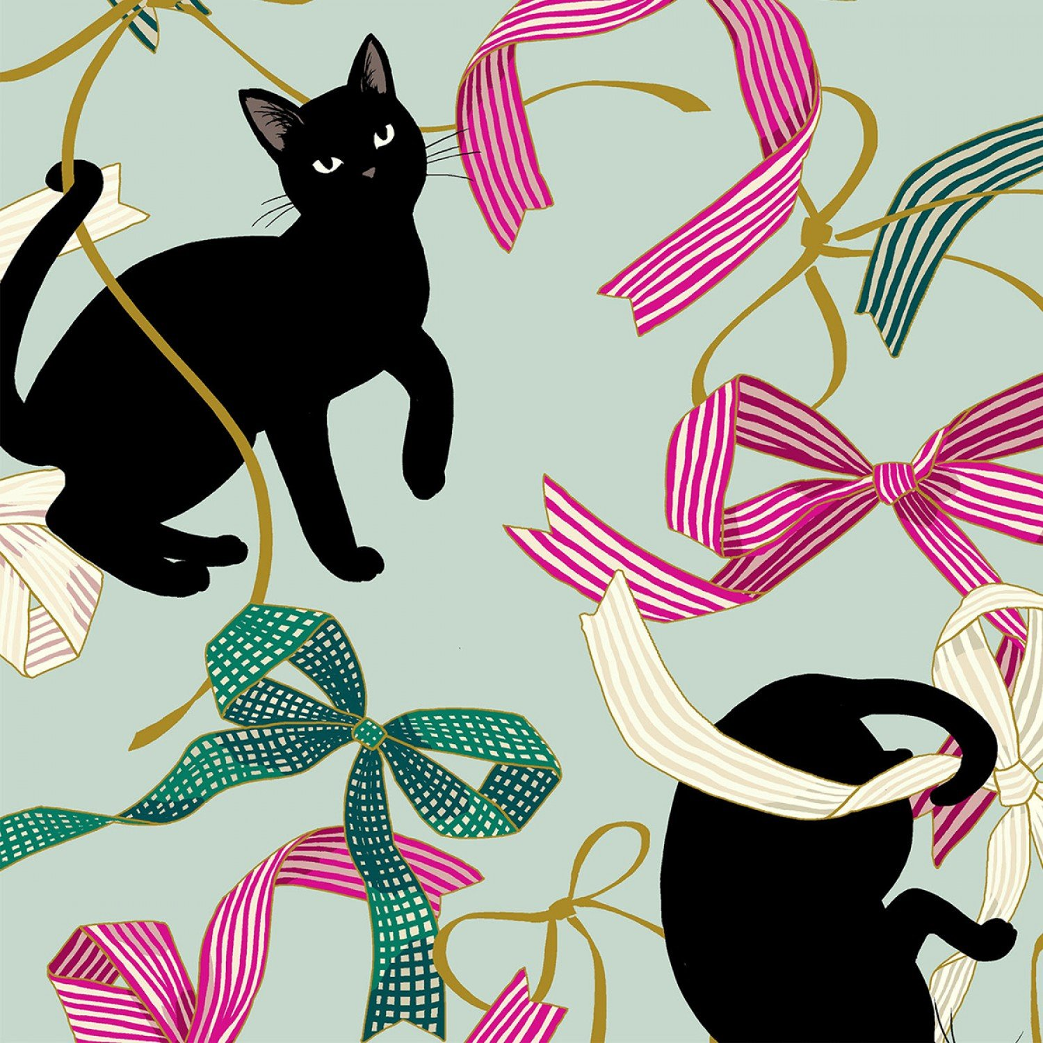 *Pink/Green Ribbon with Black Cat - HR3270-11B