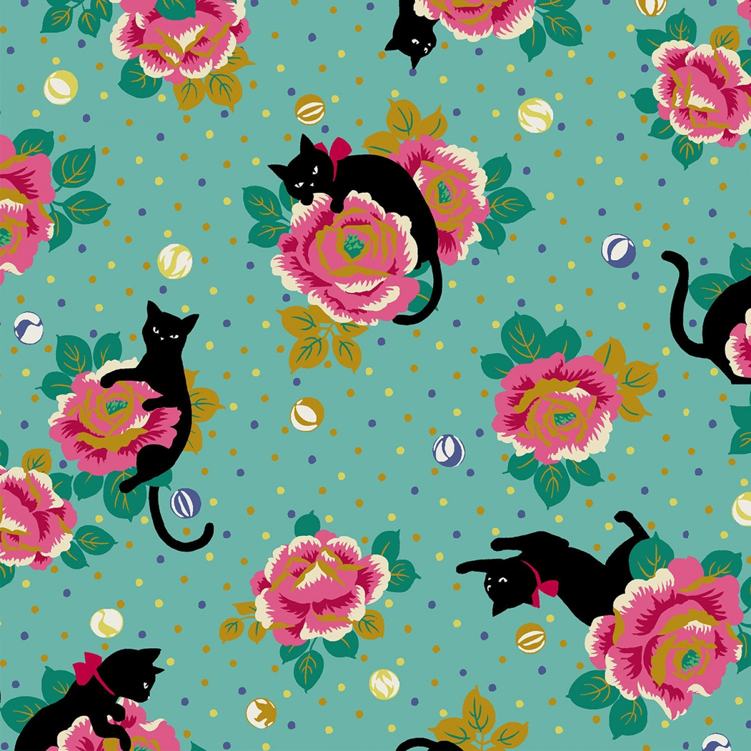 Pink Flowers On Teal With Black Cat Hr3270 13b