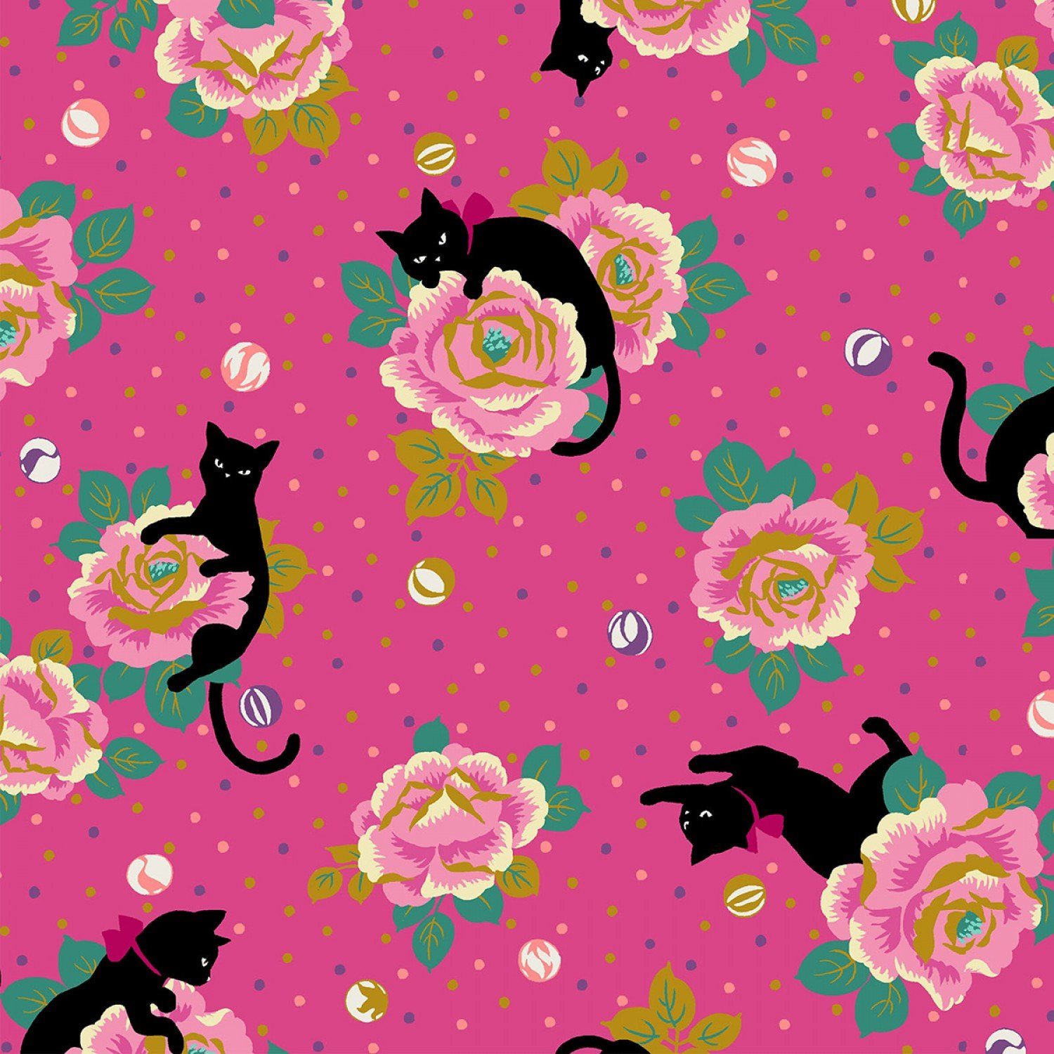 *Pink Flowers on Pink with Black Cat - HR3270-13C