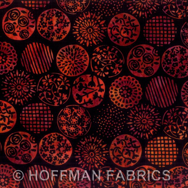 *Red Monarch Floral Circles Batik - L2577-278