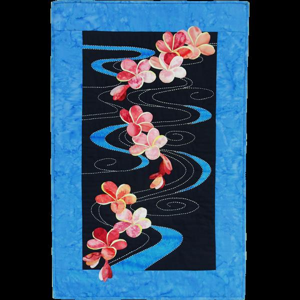 Printed Plumeria Floating on Water Sashiko Kit - FKPLUMFLOAT01