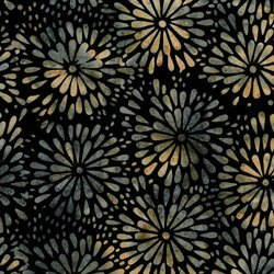 *Green Gray Cream Flowers Batik - IKF13E-U1