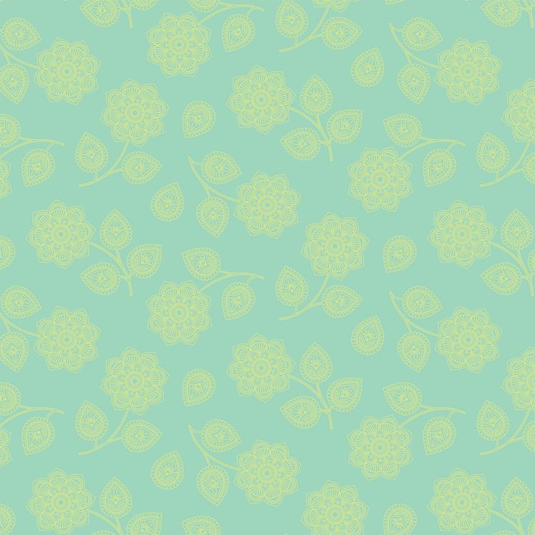 Henna Aqua Flower - PWTP074.AQUA