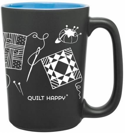 Quilt Happy Scribbles Mug Blue - QH285-BL - MAY BE RESTOCKED UPON REQUEST