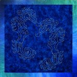 Seahorse Sashiko Panel - SKSEAHORSE - MAY BE RESTOCKED UPON REQUEST