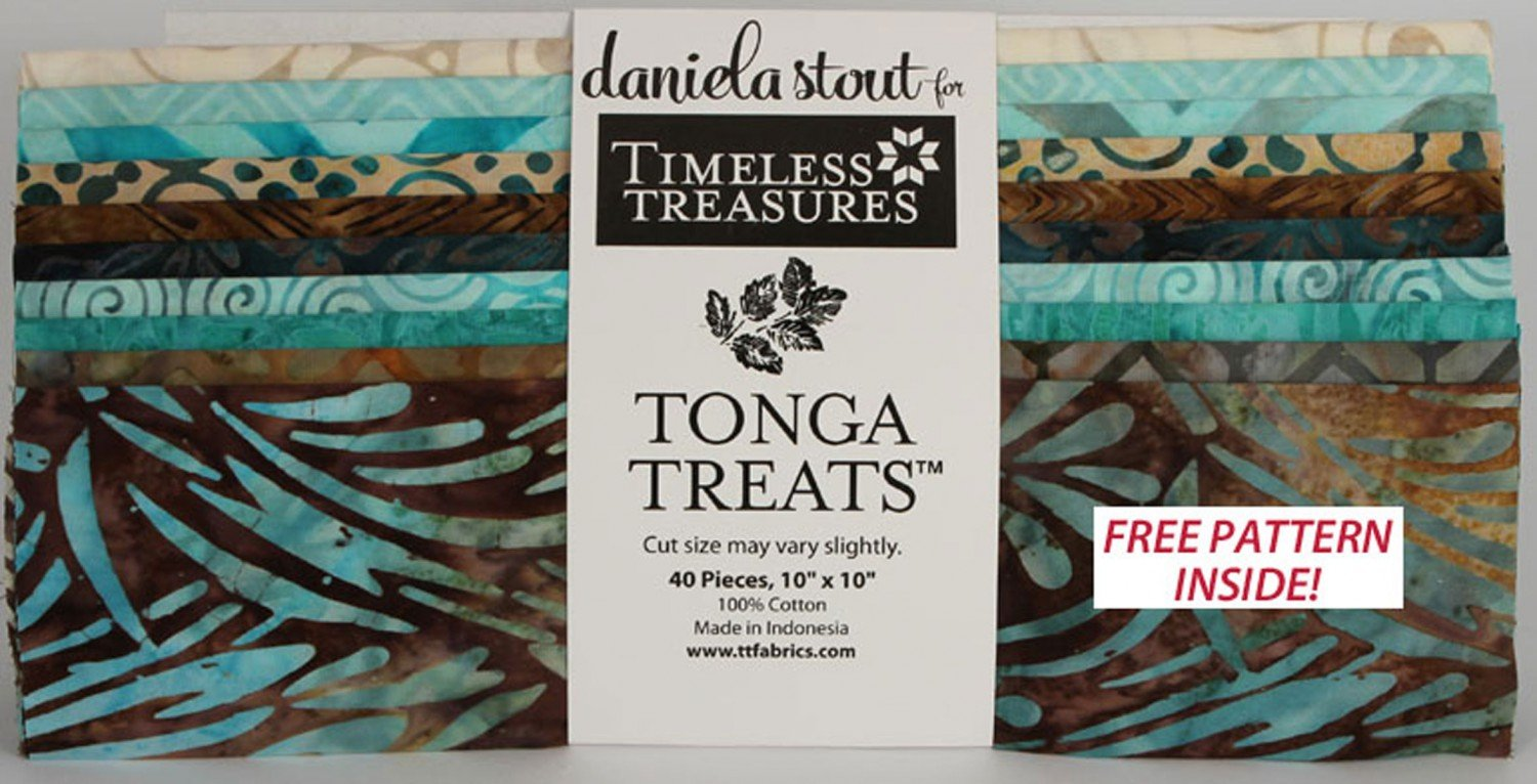 Tonga 10 Treat Square Romance 100 Made In Indonesia Beige To Dark Brown Medium Teal Batiks 40 Pieces X 100cotton For Daniela Stout Timeless Treasures