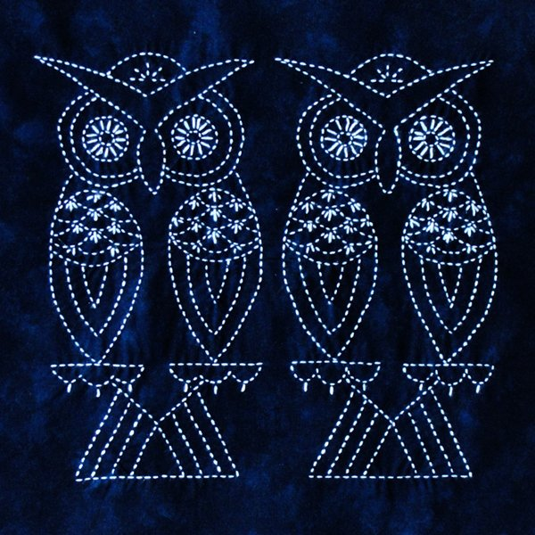 Two Owls Sashiko Panel - CAN BE RESTOCKED AT YOUR REQUEST
