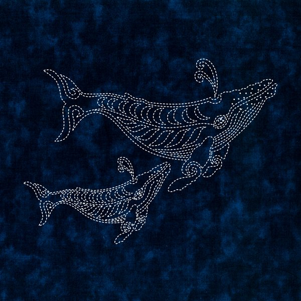 Two Whales Sashiko panel - CAN BE RESTOCKED AT YOUR REQUEST